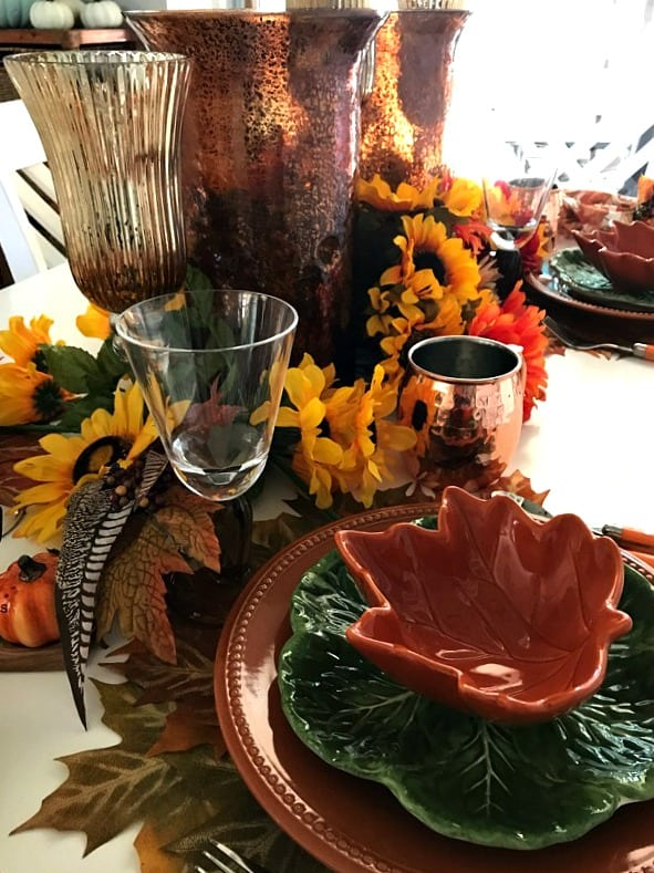 tuesday turn about #6 fall tablescape with plates glasses and fall elements