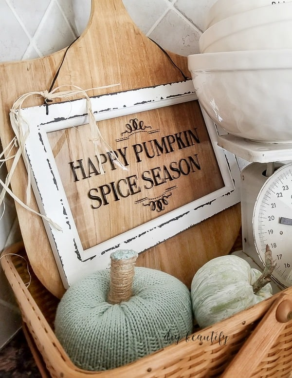 tuesday turn about #6 crate with window sign cutting board and pumpkins made out of sweater fabric in aqua