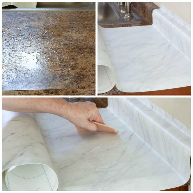 diy cheap countertops contact paper various pictures of kitchen counter with countertops sprayed with water contact paper being applied and person smoothing a countertop