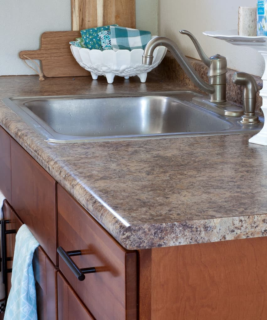 diy cheap countertops contact paper kitchen with wood cabinets and granite looking lamiate counter top with open shelving with white and aqua decor