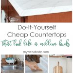 diy cheap countertops contact paper kitchen with wood cabinets and marble look counter top with open shelving with white and aqua decor