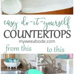 diy cheap countertops contact paper kitchen with wood cabinets and marble look countertop with cutting board and bowl with linens
