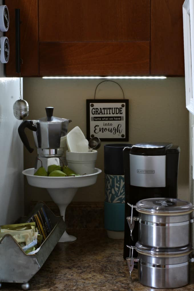 diy coffee station ideas for small spaces cluttered coffee station with under cabinet light