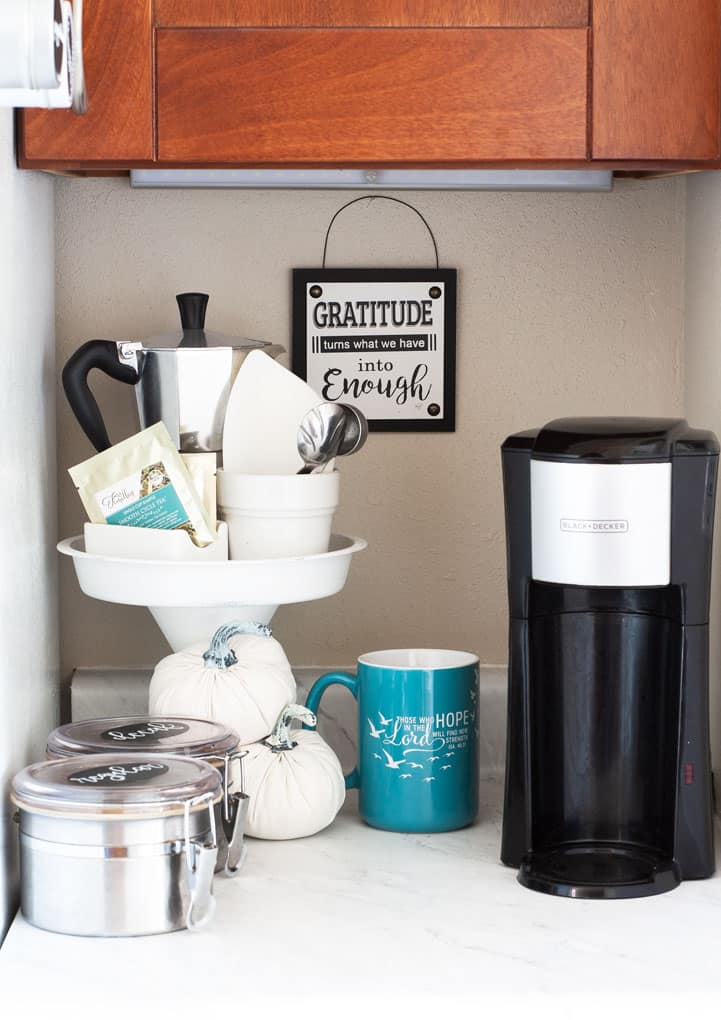 7 best tips and tricks for living in a tiny house small coffee station with coffee maker and cups