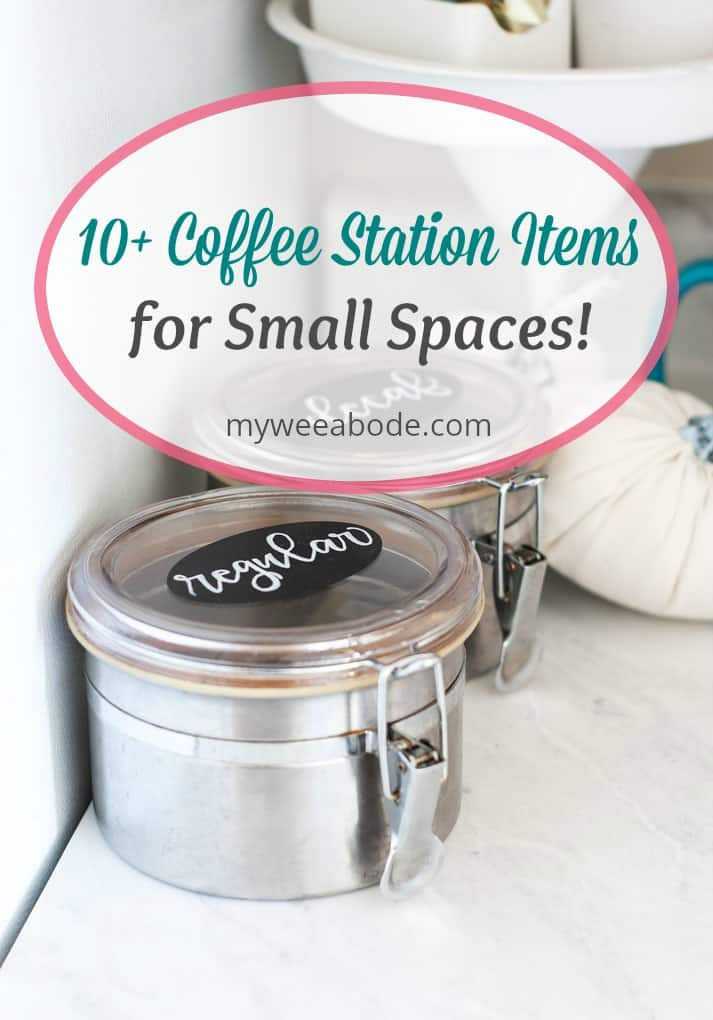diy coffee station ideas for small spaces black and white sign