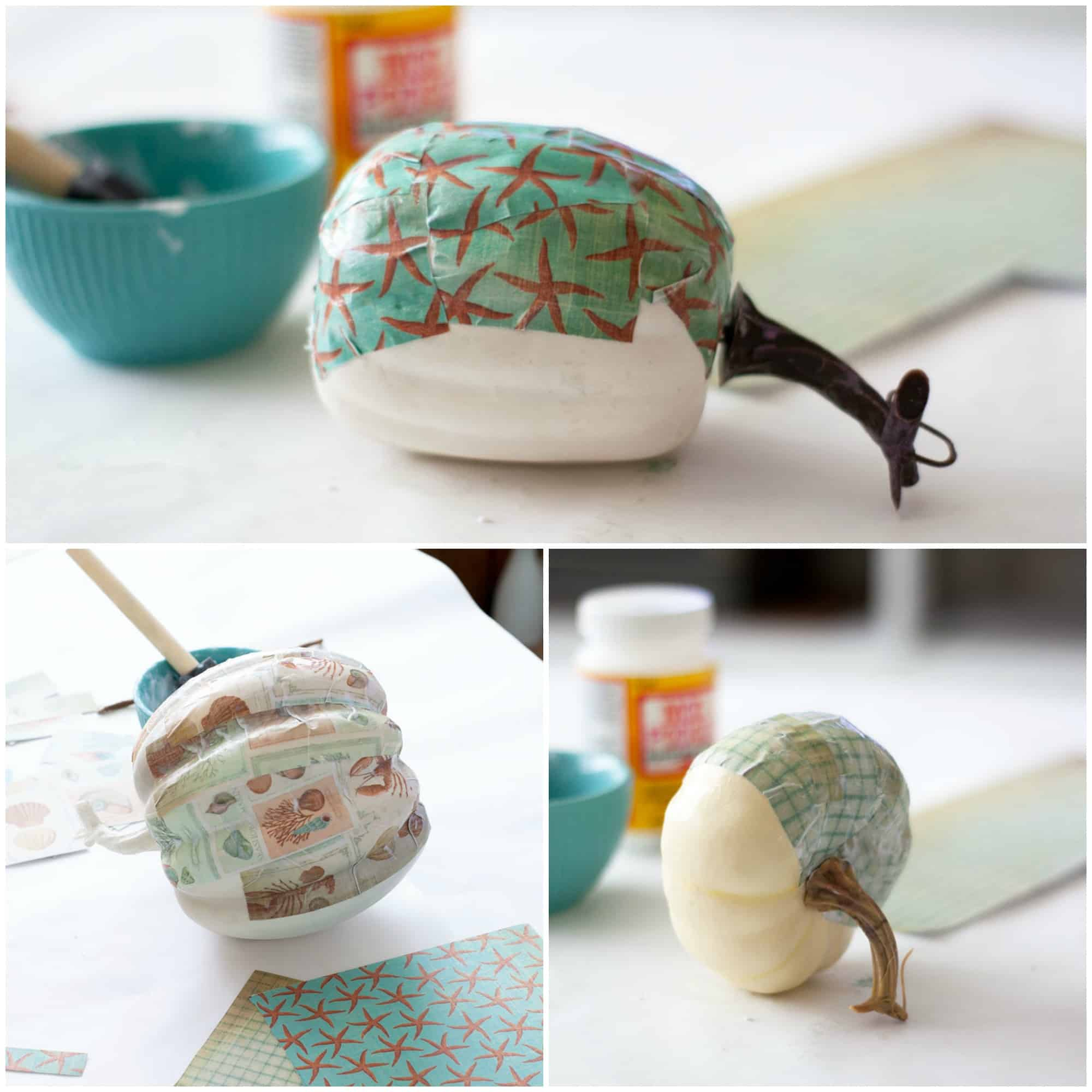 diy mod podge pumpkins coastal style variety of photos with white pumpkin and craft supplies on white countertop