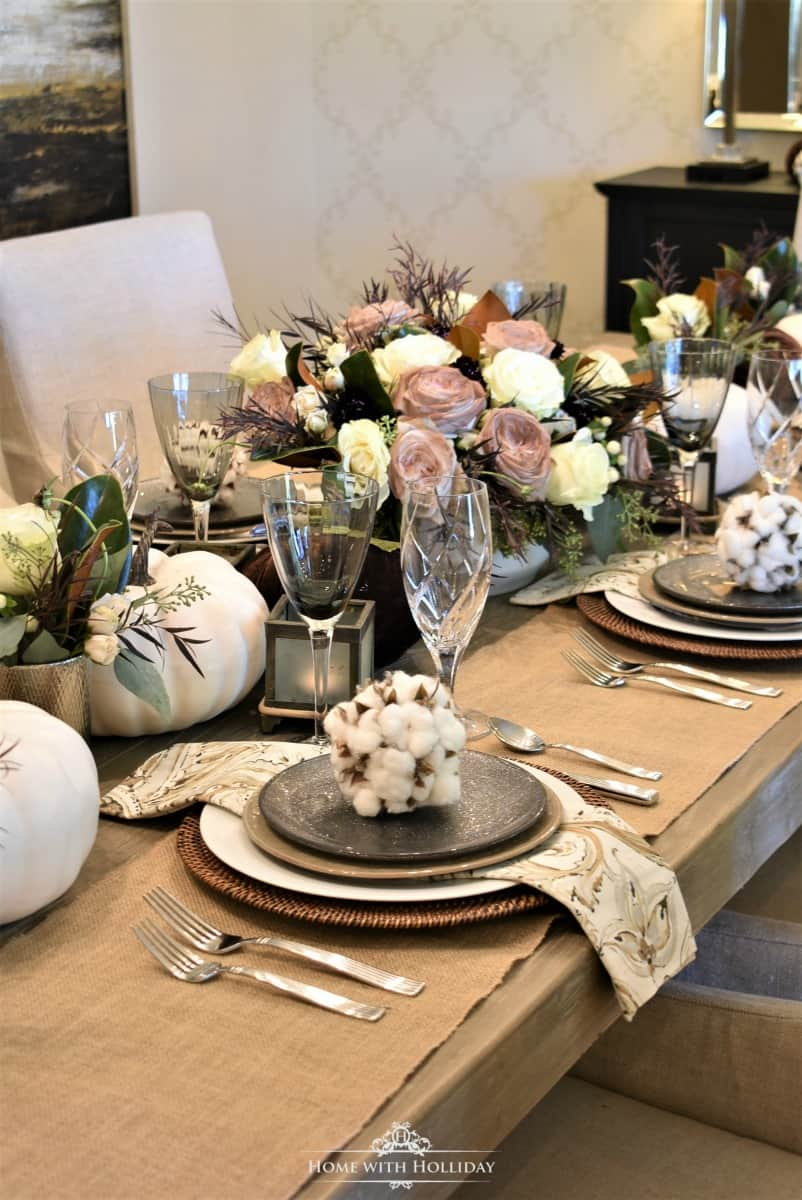 tuesday turn about 8 tablescape on rustic table with white and brown pumpkins neutral tableware clear stemware and cotton spheres on plates