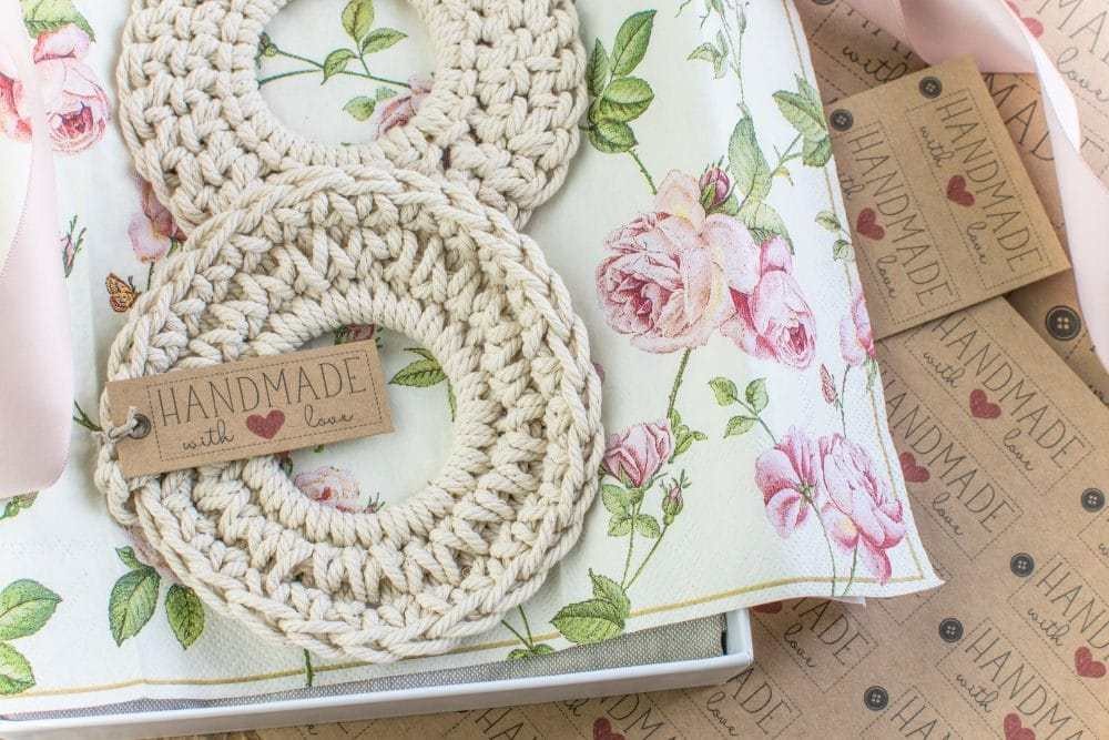 tuesday turn about 8 cotton woven coasters on floral paper with handmade tag