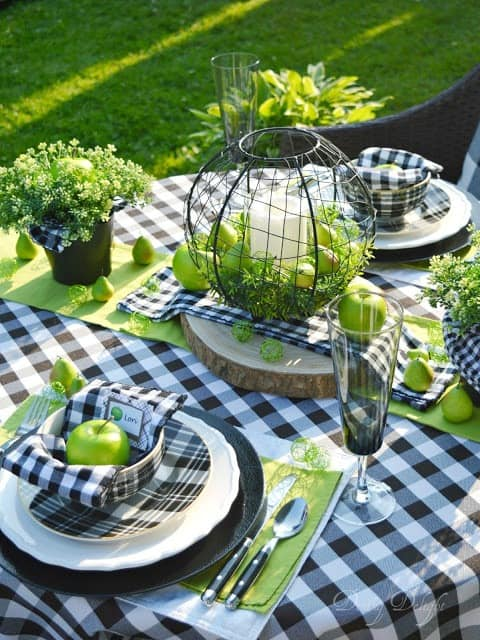 tuesday turn about 9 best blog diys tablescape with black and white buffalo check elements and granny smith apple green accents