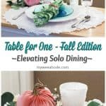 7 elements for a single fall tablescape table for one #2 table place setting with plates silverware glass salt and pepper shaker and centerpiece on a wood counter