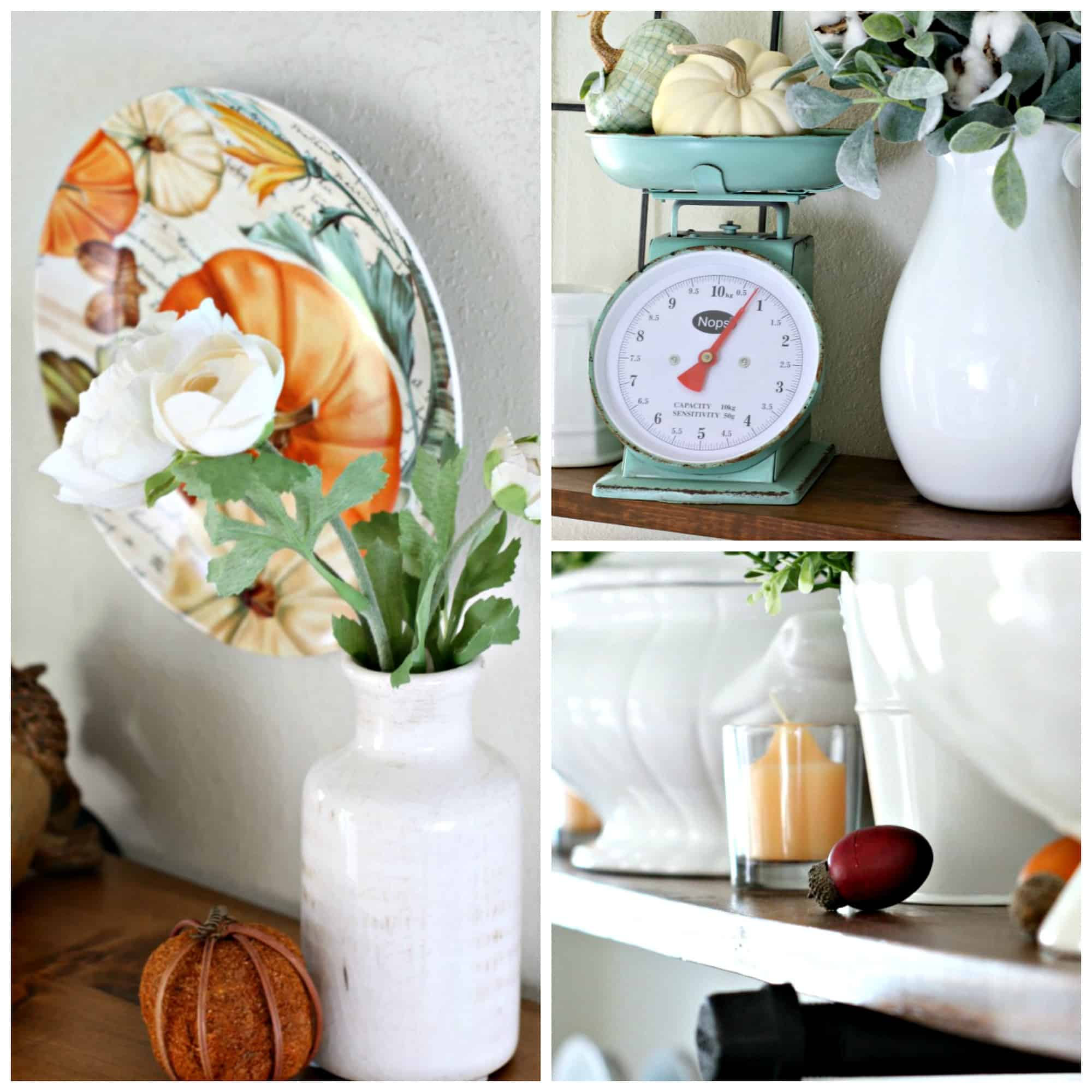 adding fall decor to a small kitchen fall decor elements vintage scale autumn wall plate with flower vase and pumpkins orange candle and acorns on wood surface
