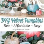 diy velvet pumpkins just like the pros velvet pumpkins in coral aqua and natural on a white cake stand with leaves flowers and natural elements on top of an wood surface with sofa in background