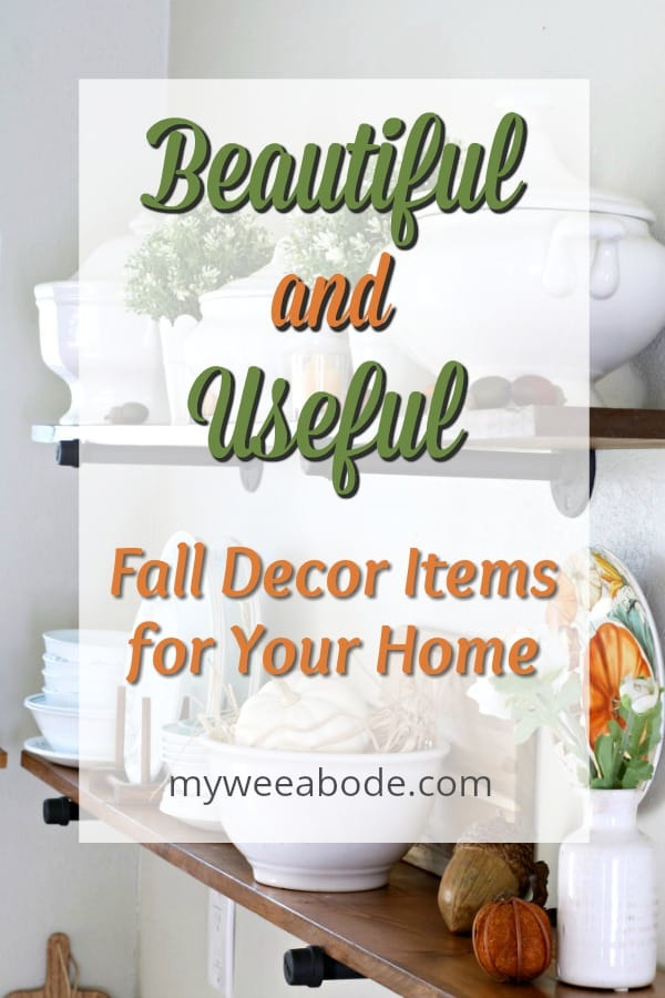 beautiful and useful fall decor items for your home with open shelves and fall decor in background