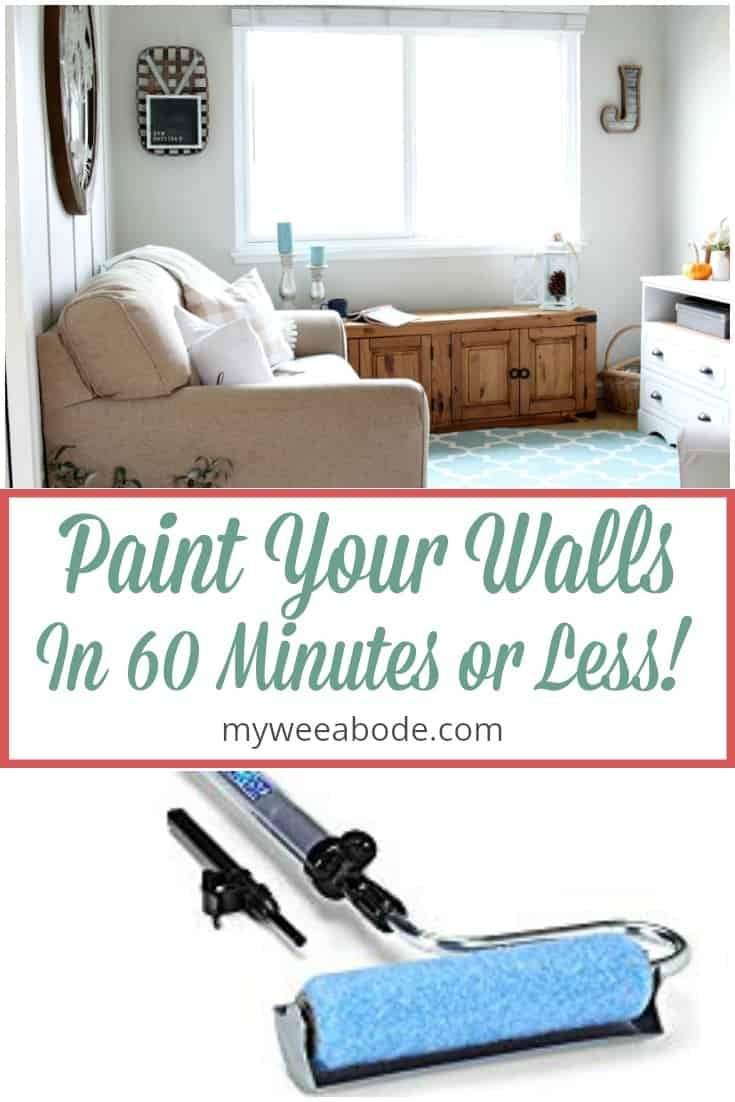 how to paint walls fast and easy before photo of living room with sofa media console window bench and decor
