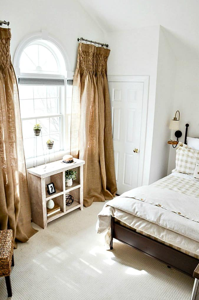 help me choose a living room paint color stonegable 1 bedrrom with burlap curtains large gable window and lovely decorate bookshelf and bed