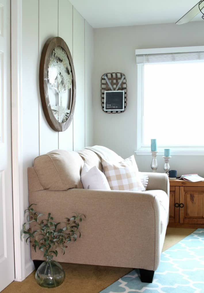 best of my wee abode 2018 living room with love seat and wall decor with wood trimmed accent wall