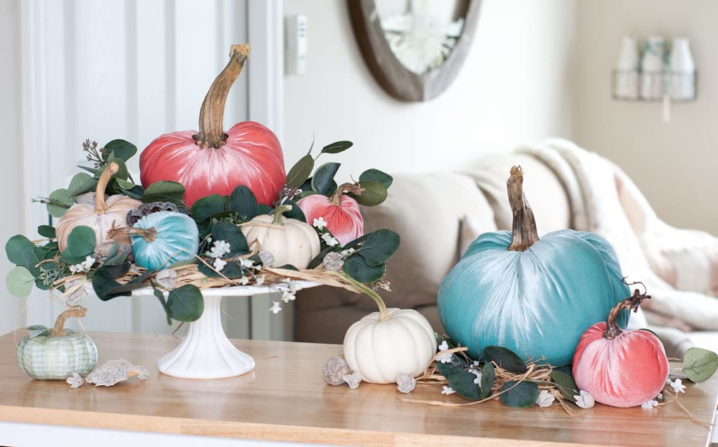 best of my wee abode 2018 velvet pumpkins on wood surface with cakeplate and natural elements with sofa in background