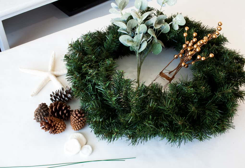 diy coastal farmhouse winter wreath