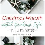 coastal farmhouse winter and christmas wreath collage