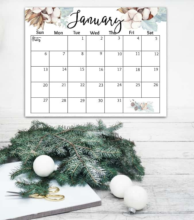 free 2019 watercolor calendar january calendar on wall with evergreen and white christmas ornaments on wood surface