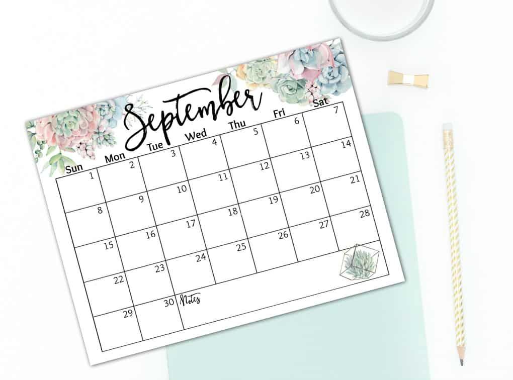 free 2019 watercolor calendar september calendar on white desk with blue book