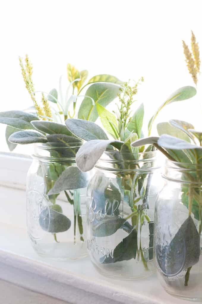 add closet small space mason jars with greenery and flowers