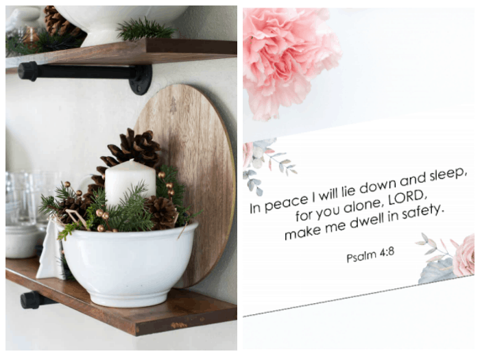homestyle gathering 5 photos of printable verse card and open shelving with ironstone and winter decor