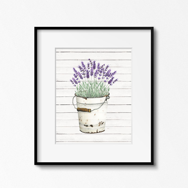 homestyle gathering 7 art print of lavender in a bucket