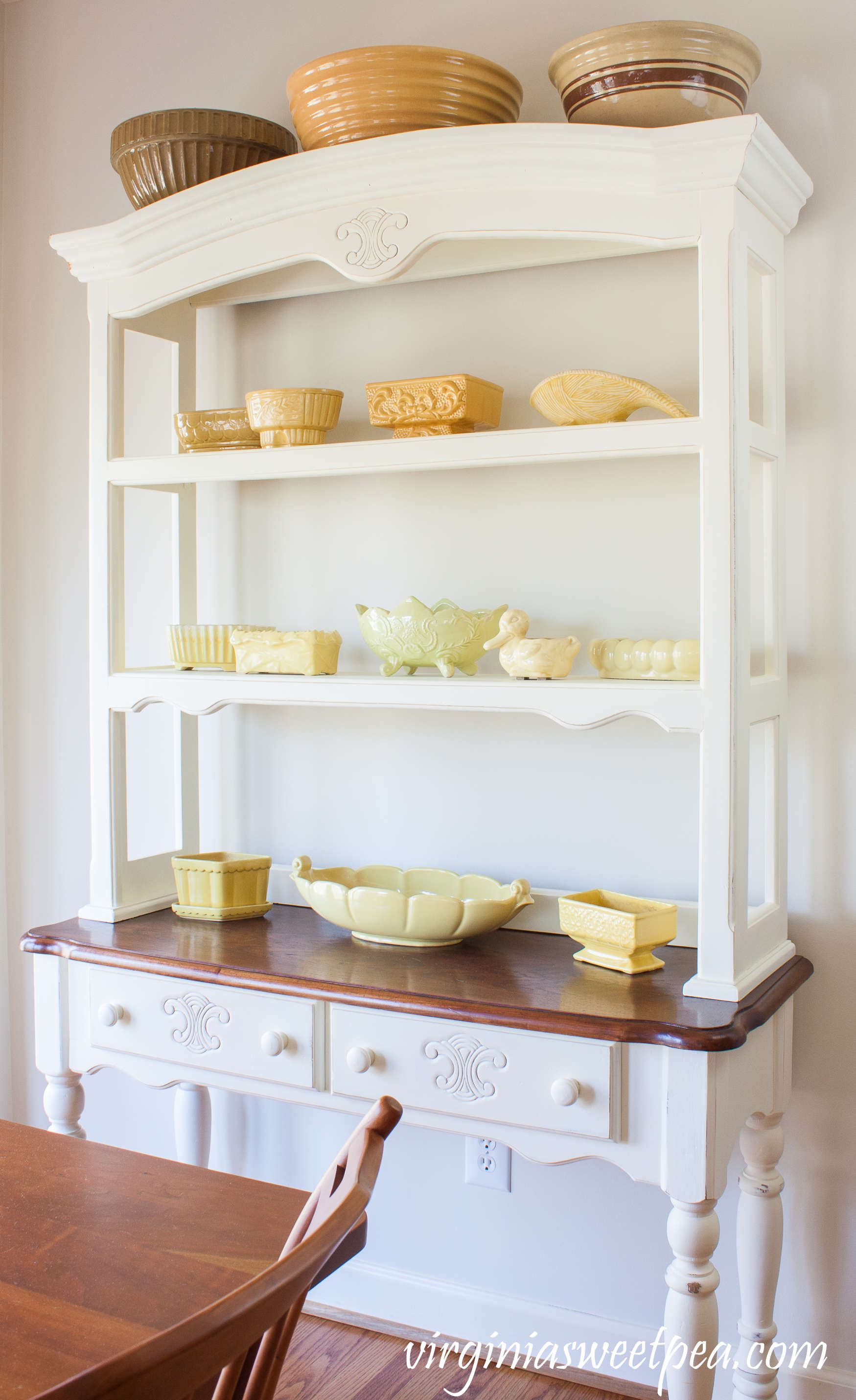 homestyle gathering 7 white hutch with yellow pottery
