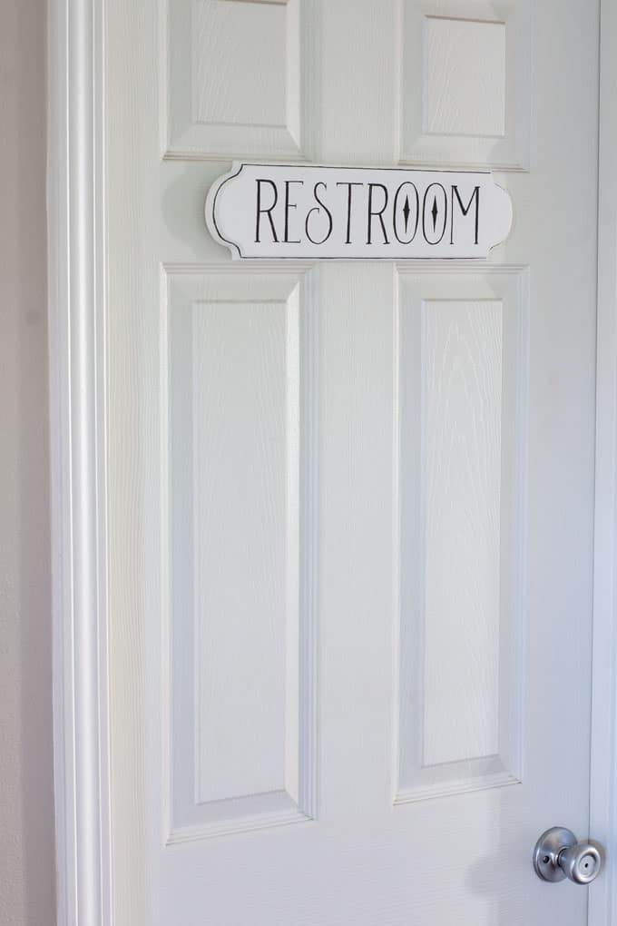 how to make a fake enamel sign restroom sign on door