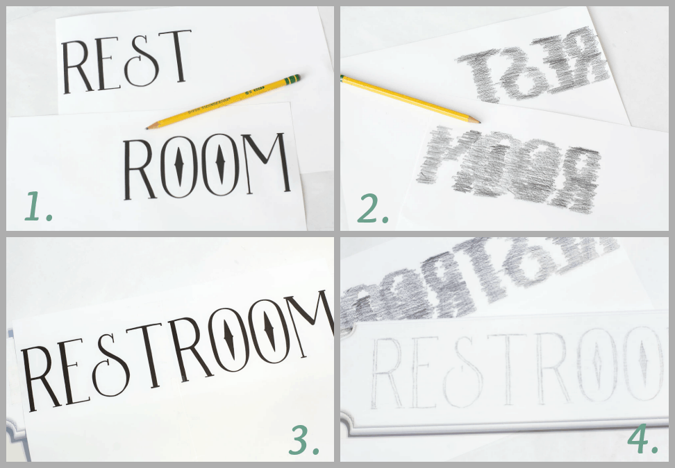 how to make a fake enamel sign restroom words on paper and photos of steps to create a sign