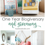 one year blogiversary small home giveaway tea organizer shelf riser book tea towel an vase on sofa