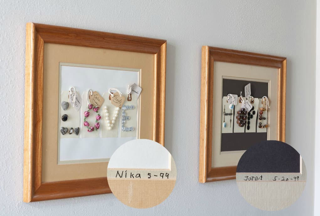 quick farmhouse makeover outdated frames two pieces fo art on wall with signatures highlighted