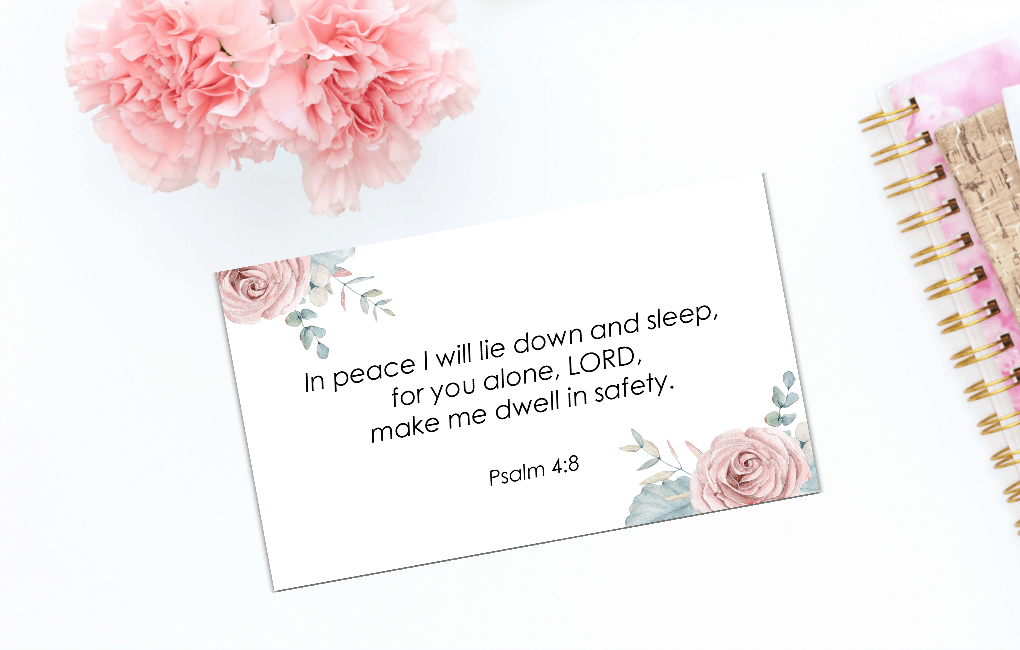 sunday be stills bible verse on card with flowers