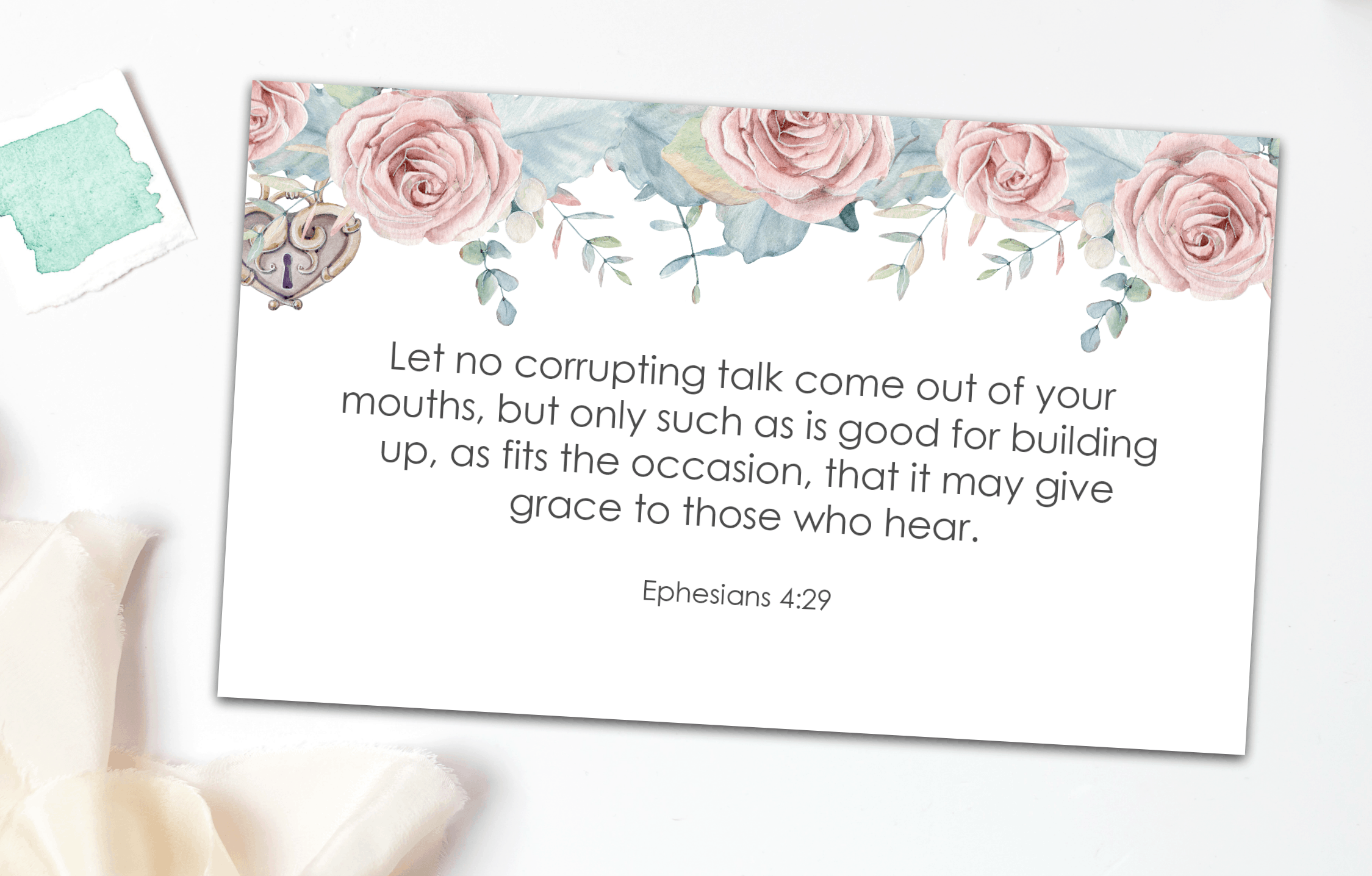 sunday be stills gracious words verse card with ephesians 4 verse on white surface