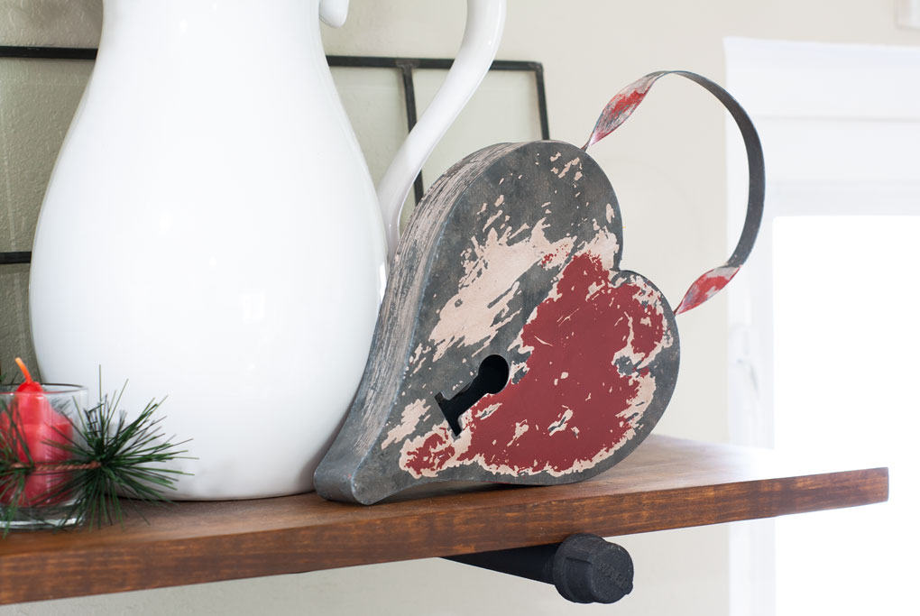 winter-valentine-decor-small-kitchen red silver galvanized hearts white pitcher on wooden surface
