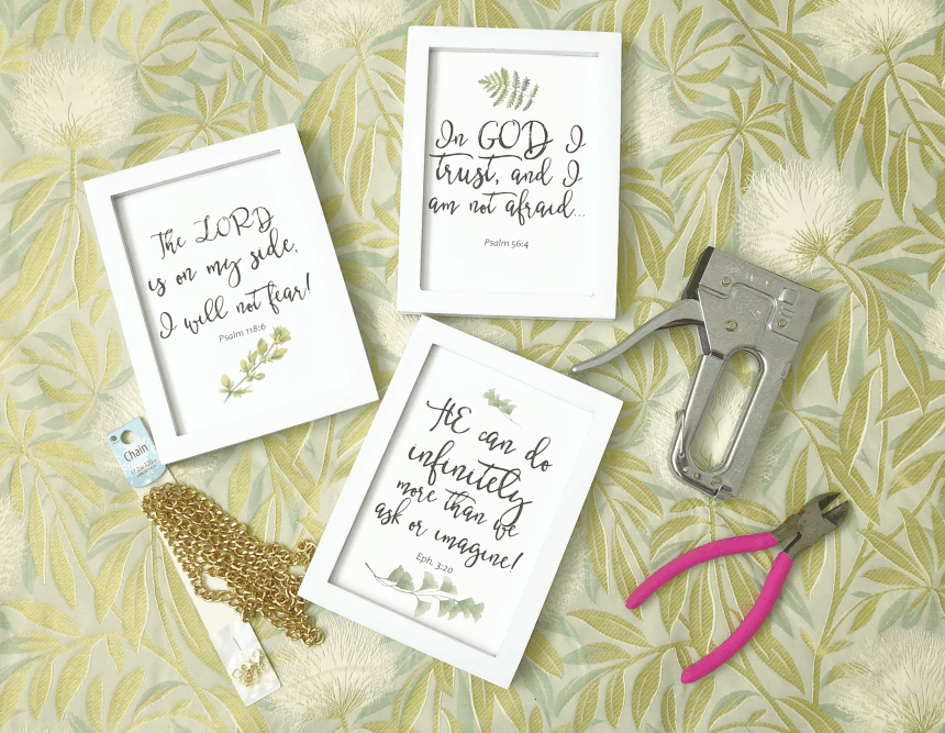 one year blogiversary small home giveaway three frames with bible verses and diy tools on green and yellow background
