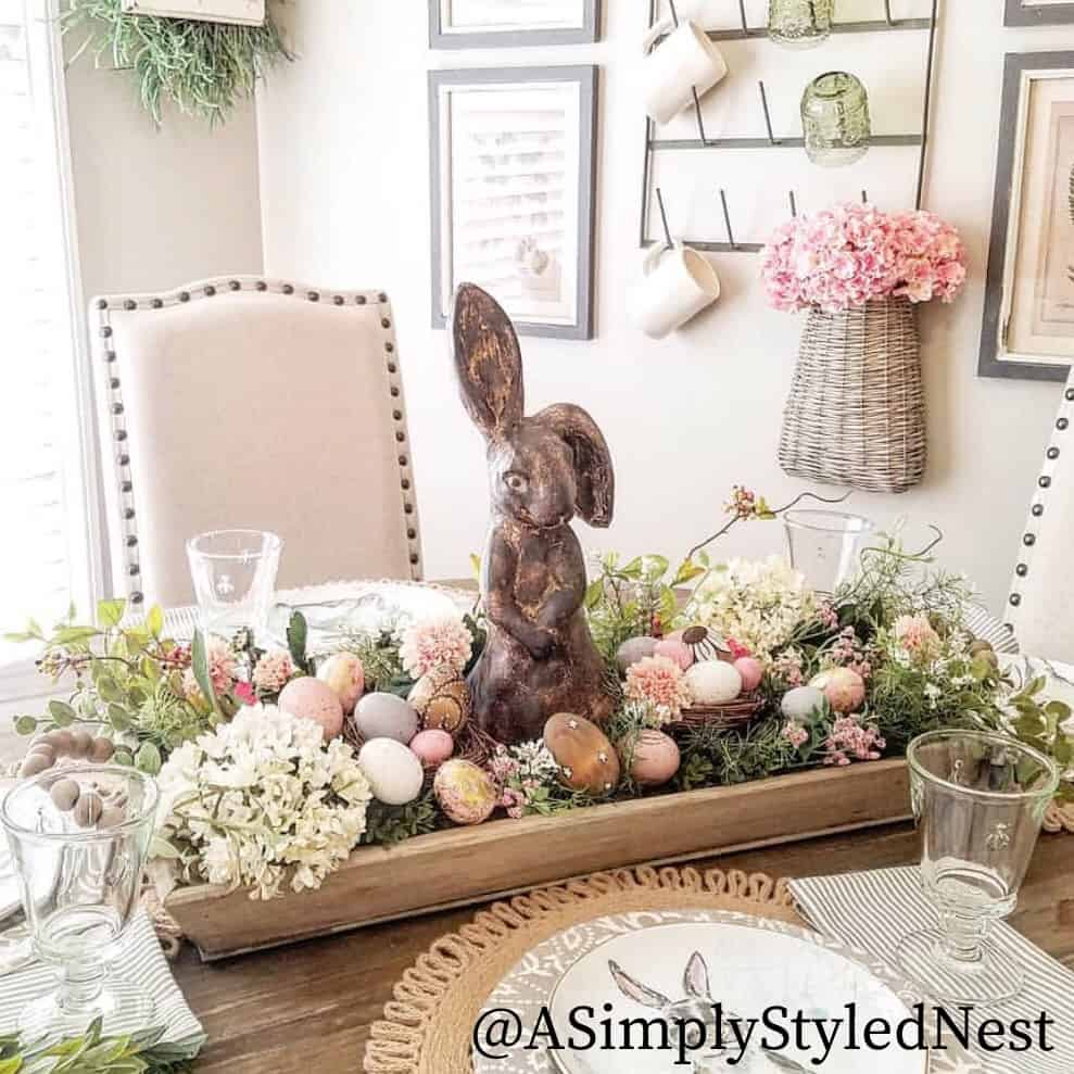 spring centerpiece velvet easter eggs centerpiece with wooden bowl florals eggs and bunny on table