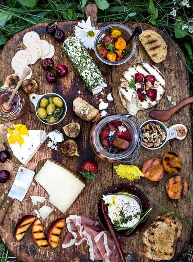 homestyle gathering 10 cutting board with cold cuts and cheese and fruit