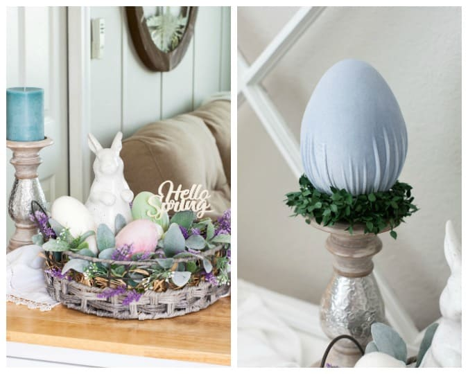 homestyle gathering 11 spring centerpiece and velvet easter egg on candle holder with ivy accents and florals