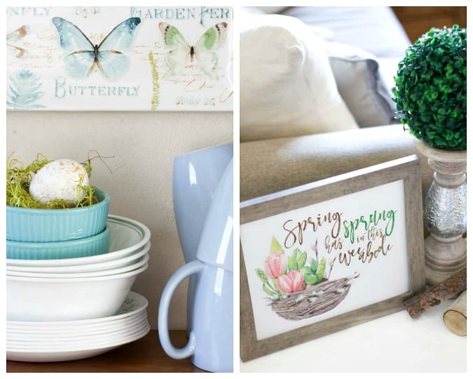 homestyle gathering 9 dishes cups bowls on wood surface with butterfly wall art and spring sign with candlestick and boxwood ball