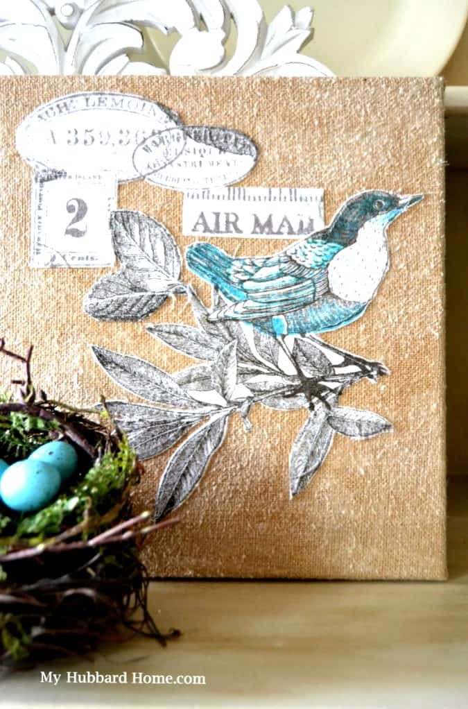 homestyle gathering 11 bird art canvas with nest and blue eggs