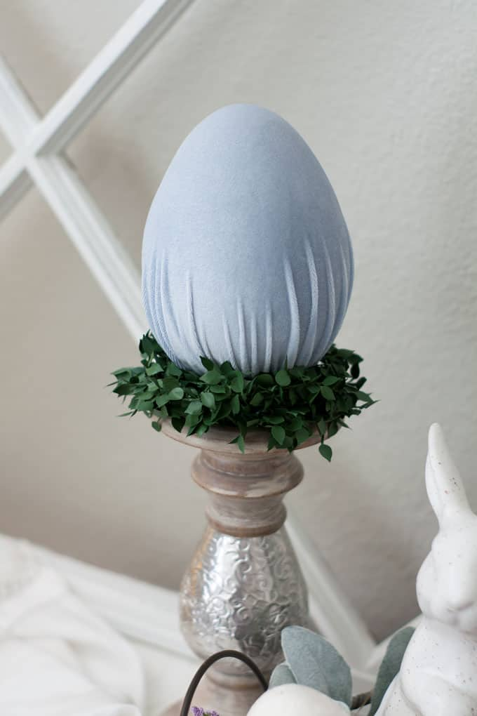 how to make velvet easter eggs candle holder and velvet egg with ivy and window pane in background