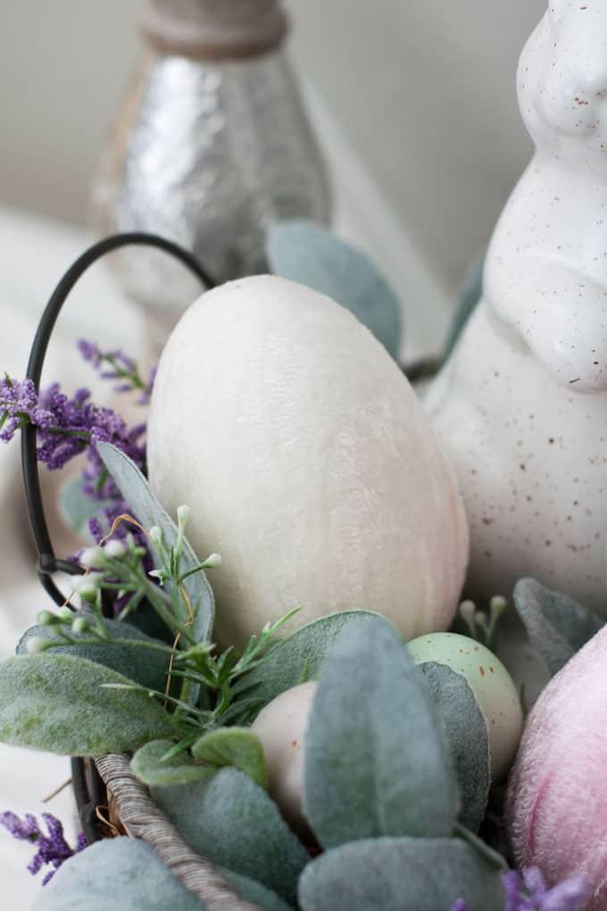 how to make velvet easter eggs vignette with ivory velvet egg in basket bunny lambs ear florals
