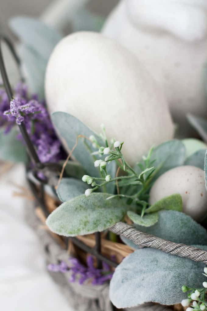 how to make velvet easter eggs vignette with ivory velvet egg in basket bunny lambs ear florals