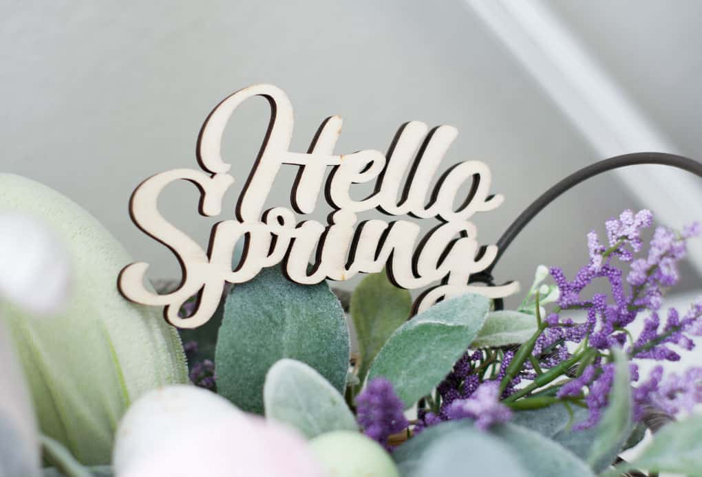 how to make velvet easter eggs vignette with hello spring sign in basket bunny lambs ear florals