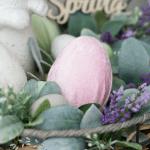 how to make velvet easter eggs vignette with pink velvet egg in basket bunny lambs ear florals