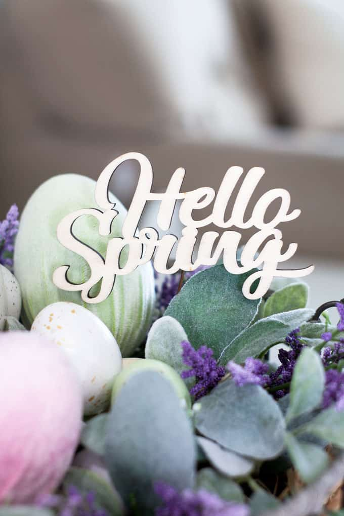 spring centerpiece velvet easter eggs centerpiece hello spring sign with easter eggs and florals