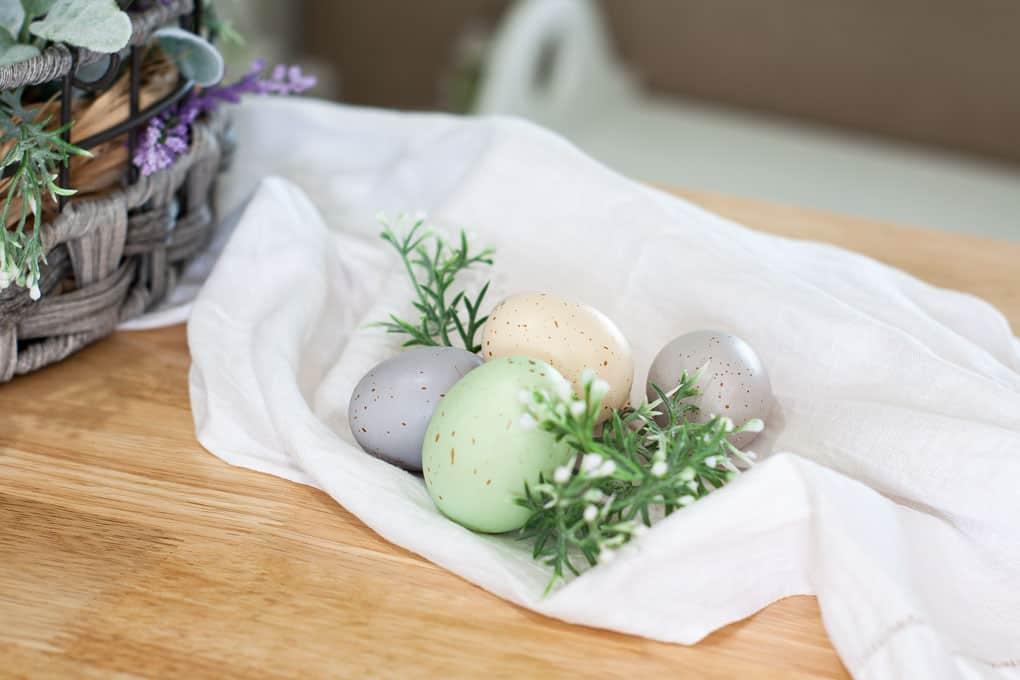 spring centerpiece velvet easter eggs centerpiece velvet and speckled easter eggs with florals on linen cloth