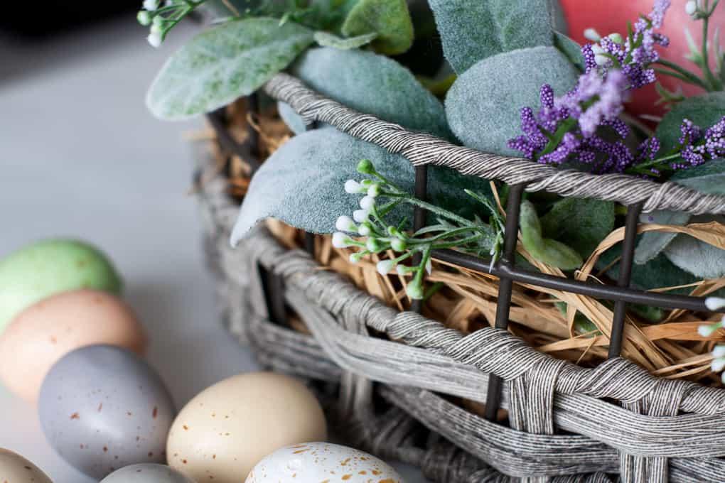 spring centerpiece velvet easter eggs centerpiece florals and speckled eggs in basket